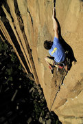 Rock Climbing Photo: Jeffrey Hyman on the final moves of 'Gold Rush'