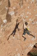 Rock Climbing Photo: Sticking the dyno on 'Cap'n Rehab'