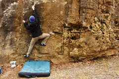 Rock Climbing Photo: Climber pulling up on the side pulls halfway throu...