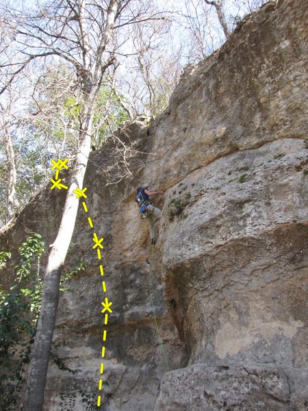 Rock Climbing Photo: On Blood Sacrifice, to the right of Song of Myself...