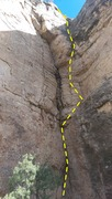 Rock Climbing Photo: The route continues to the top of the sunny area, ...