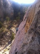Rock Climbing Photo: Jackie climbing one of the slabbier routes on the ...