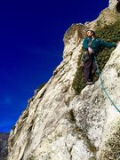 Rock Climbing Photo: Chris cruzin into easy pitch #4 with the ominous h...