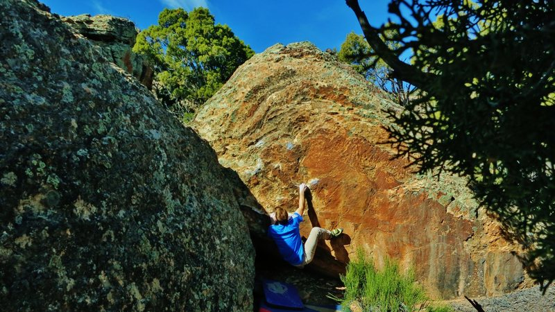 Rock Climbing Photo: Eyeing the left hand jug after reaching the right ...