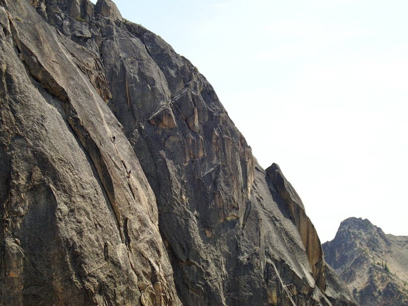 Unknown climbers on the West Face of North Early Winter Spire, North Cascades, WA