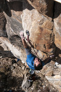 Rock Climbing Photo: Zach working out the moves....this is probably the...
