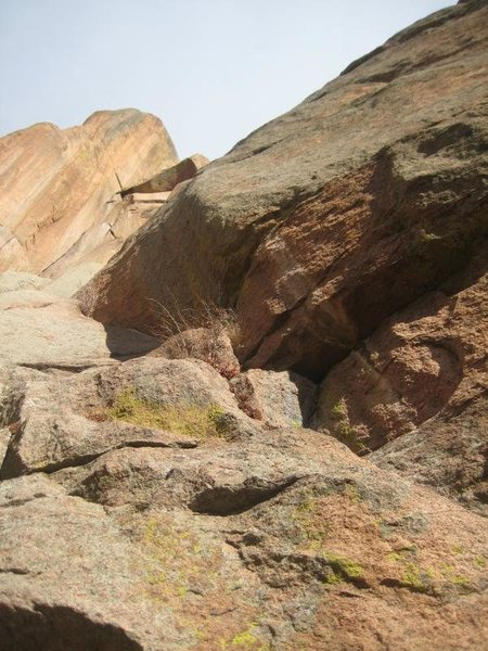 Rock Climbing Photo: P1 variation, coming in from the right.