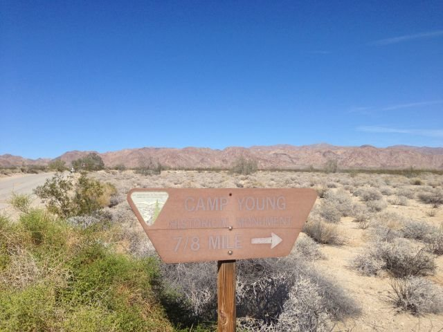 Road sign for Camp Young Historical Monument, Joshua Tree NP