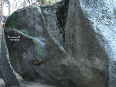 Rock Climbing Photo: Problem C2 on AH Boulder. (V2)