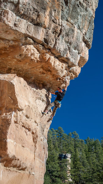 Setting up to enter the upper crux
