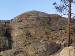 Rock Climbing Photo: Lower Slabs Right Side topo (from the south)