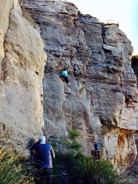 Rock Climbing Photo: Michele about to pass the 2nd bolt on Runaway Truc...