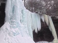 Rock Climbing Photo: Upper falls (last pitch) of Buttermilk Falls.