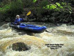 Rock Climbing Photo: Sheri Kayaking the South Branch of the Raritian Ri...