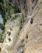Rock Climbing Photo: The 2nd pitch traverse on 'Lost in Space'