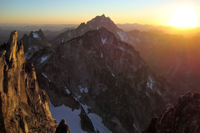 Mount Stuart (behind) and Colchuck Peak from the summit of Dragontail