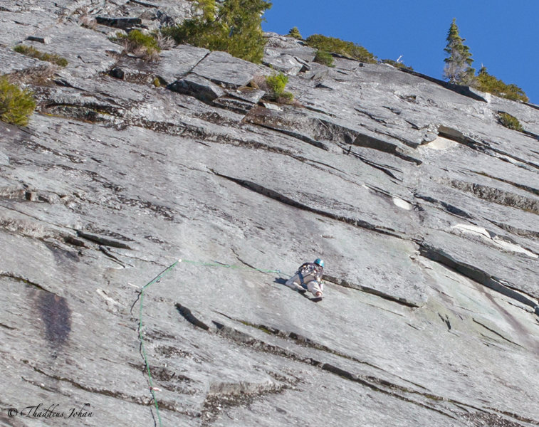Brandon cruising the first crux on pitch 6