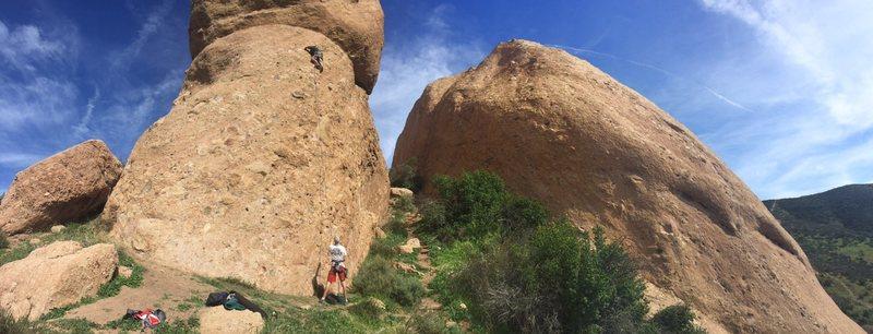 Rock Climbing Photo: Panarama photo with Chad Parker leading Boneyard 5...