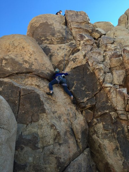 Rock Climbing Photo: The route to the left of the blocky dike. Beginnin...
