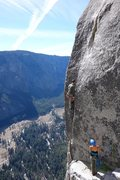 Rock Climbing Photo: mike takes the airy step off the notch, heather en...