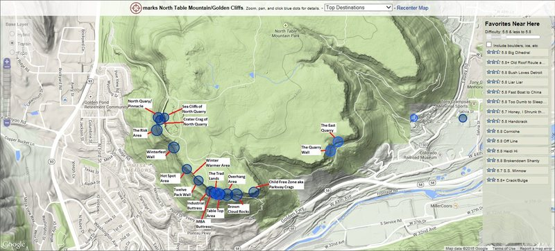Rock Climbing Photo: North Table Mountain area locations.