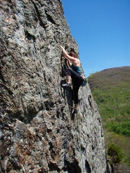 Rock Climbing Photo: Sport climbing a 5.10 in Bolton, Vermont.