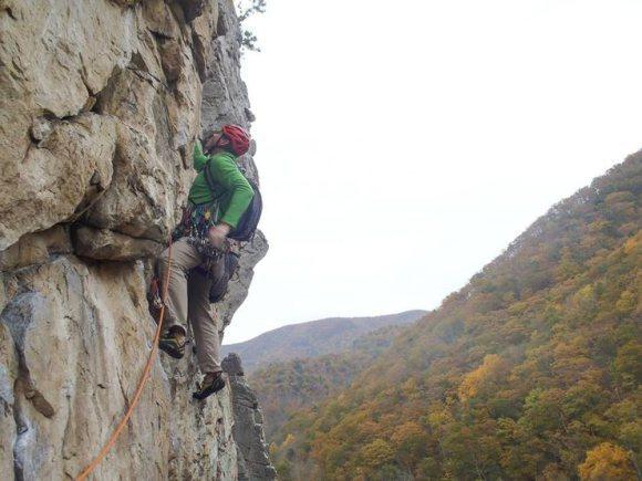 Starting out pitch 3 of Ecstasy, Seneca Rocks, WV