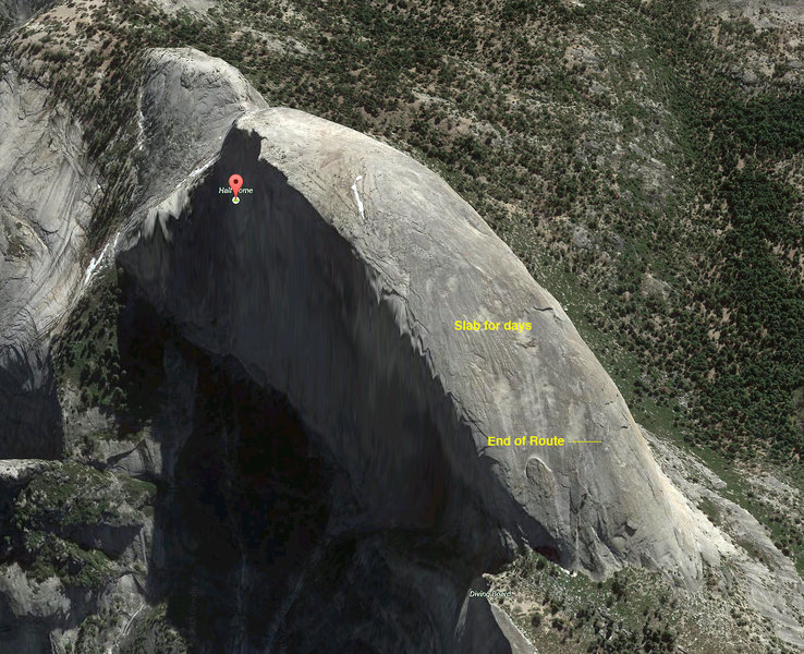 Rock Climbing Photo: Length of the actual climb, and a more accurate lo...