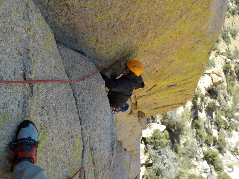 Rock Climbing Photo: Anjani climbing to p2 anchors.  p1 really.