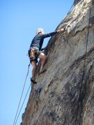 "Rock Climbing Photo: Leading near the crux of ""Victoria's Secret.&..."