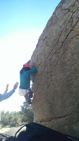 Harder or easier variations exist if excluding the arete up top, or limiting feet, etc.