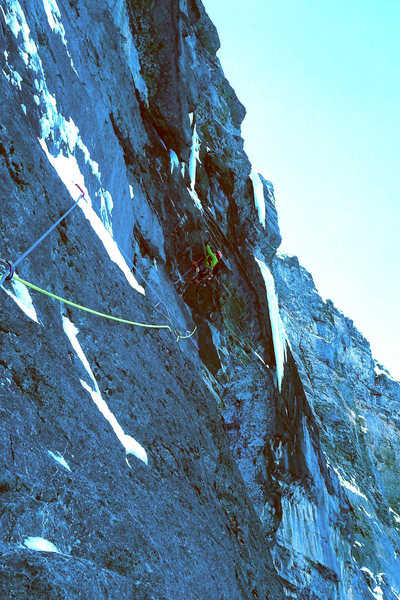 Crux roofs of Pitch 5 (Pitch 4 in description).