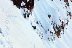 Rock Climbing Photo: Man Yoga. Steep snow slopes of Pitch 1 (Pitch 0 in...