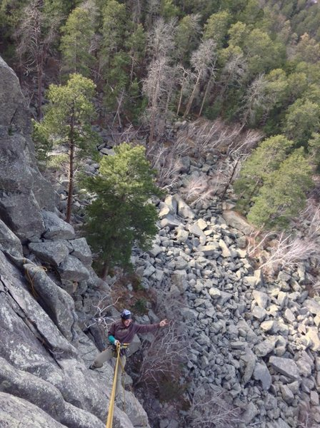 "Rappell down ""weather or not"" (5.9) after topping out ""middle of the road"" (5.8)"