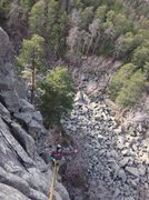 "Rock Climbing Photo: Rappell down ""weather or not"" (5.9) afte..."