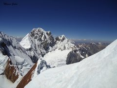 a view of Siula, beginning to climb the second ridge, easy ice/snow. But the climb was getting hard every moment.