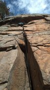Rock Climbing Photo: I managed to fight through the chimney and am abou...