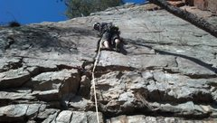Rock Climbing Photo: Move left towards the arête, which I'm about to d...