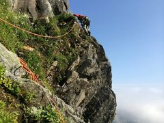 Rock Climbing Photo: Climbing around onto the ridge from the end of the...