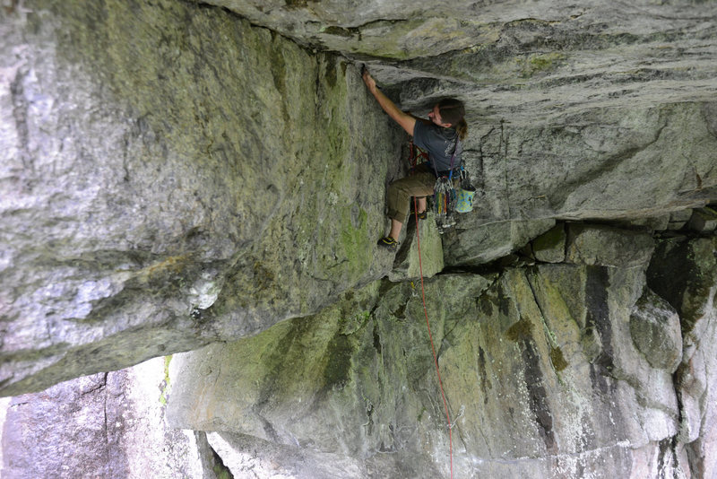 Rock Climbing Photo: Climber on The Fountainhead (11d), a route that br...