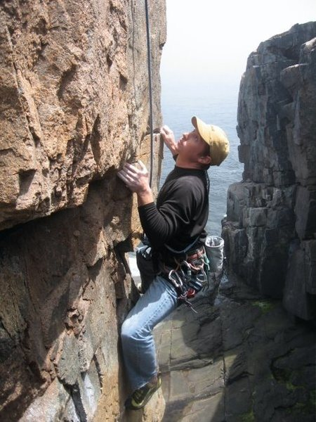Climbing The Gallery at Otter Cliffs.