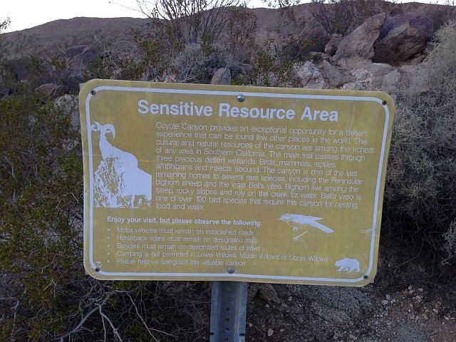 Sign in Lower Coyote Canyon, Anza Borrego SP