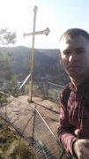 Rock Climbing Photo: The cross atop Jungfernsprung in Dahner Gebiet (Da...
