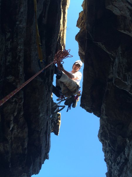 Rock Climbing Photo: At the pitch 2 anchor right above the awesome chim...