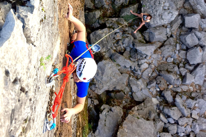 Pulling the crux moves just before the anchor