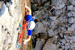Rock Climbing Photo: Pulling the crux moves just before the anchor