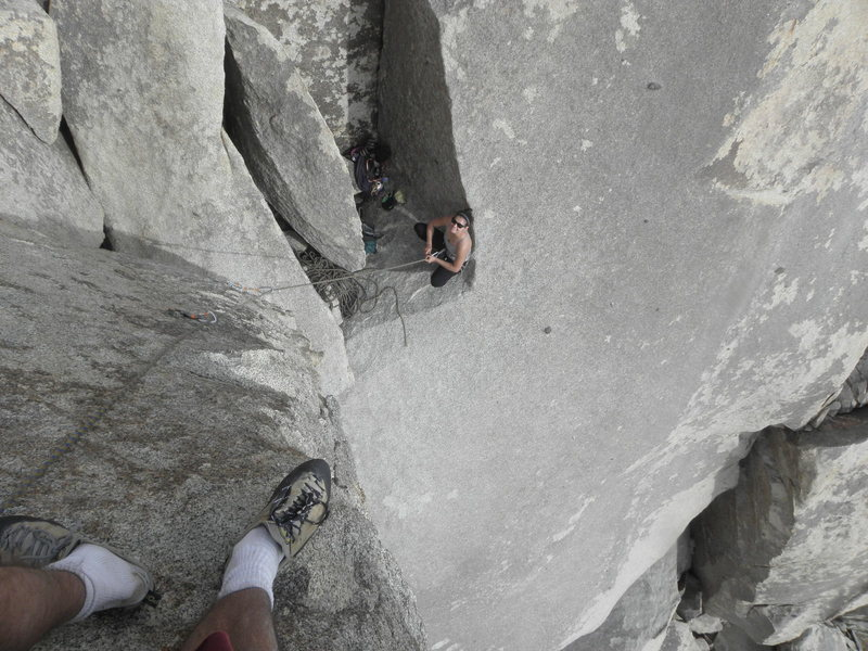 rebeca russell on belay while I climb to the summit of The Praying Monkey
