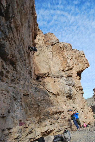 """Garland rockin' the kneebar """"clip and crawl"""" move down low.  This route is a blast!"""