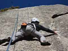 Rock Climbing Photo: Pat making the moves on Road House Blues