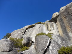 Rock Climbing Photo: Road House Blues from the trail.  RHB takes the fa...